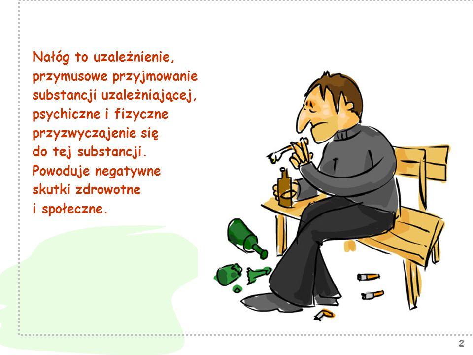 2 Nałóg to uzależnienie, przymusowe przyjmowanie substancji uzależniającej, psychiczne i fizyczne przyzwyczajenie się do tej substancji. Powoduje nega