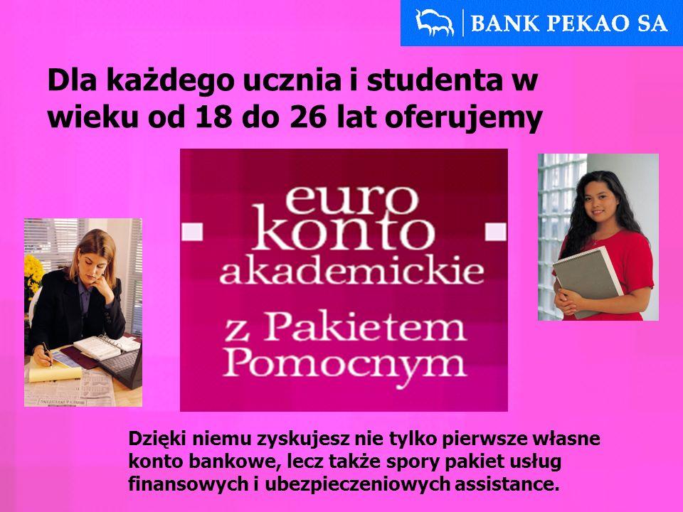 Eurokonto Akademickie gwarantuje Ci: Dostęp do konta w całym kraju: w bankomatach – bez prowizji możesz korzystać z prawie 1200 bankomatów Banku Pekao S.A.