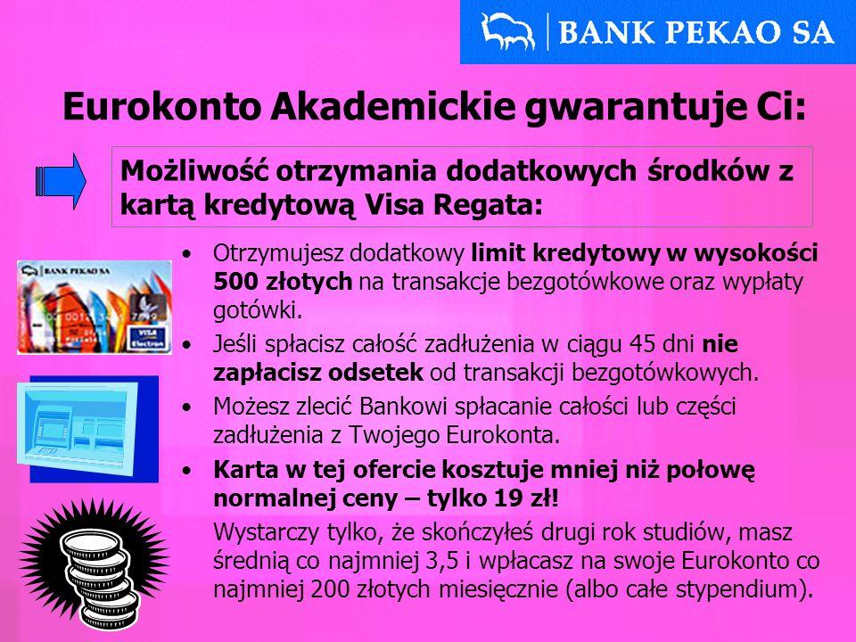 Możliwość otrzymania dodatkowych środków w inny sposób: masz prawo do korzystania z debetu do 300zł przez 30 dni, bez konieczności składania wniosku, na większe wydatki proponujemy pożyczkę w formie odnawialnej linii kredytowej Eurokonto Akademickie gwarantuje Ci: