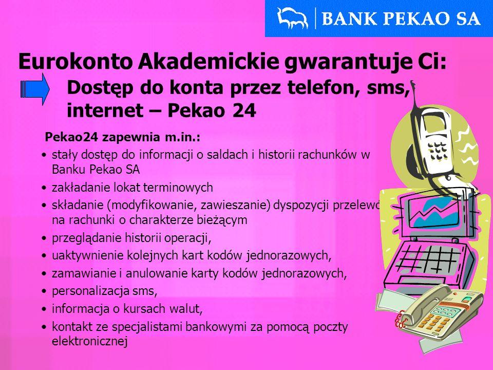Pekao24 zapewnia m.in.: stały dostęp do informacji o saldach i historii rachunków w Banku Pekao SA zakładanie lokat terminowych składanie (modyfikowan