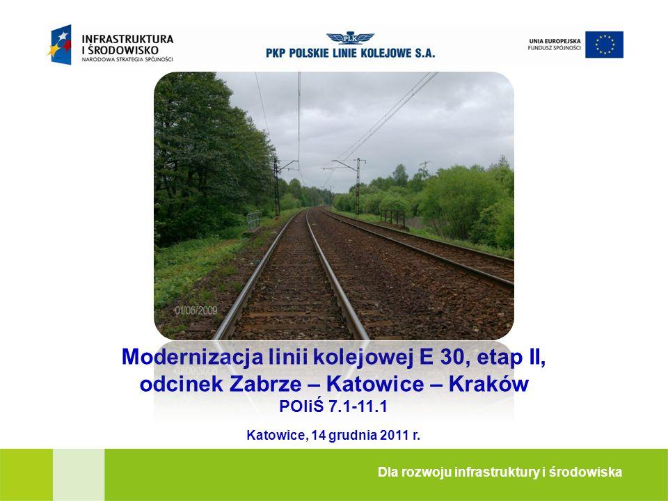 Modernizacja linii kolejowej E 30, etap II, odcinek Zabrze – Katowice – Kraków POIiŚ 7.1-11.1 Dla rozwoju infrastruktury i środowiska Katowice, 14 gru
