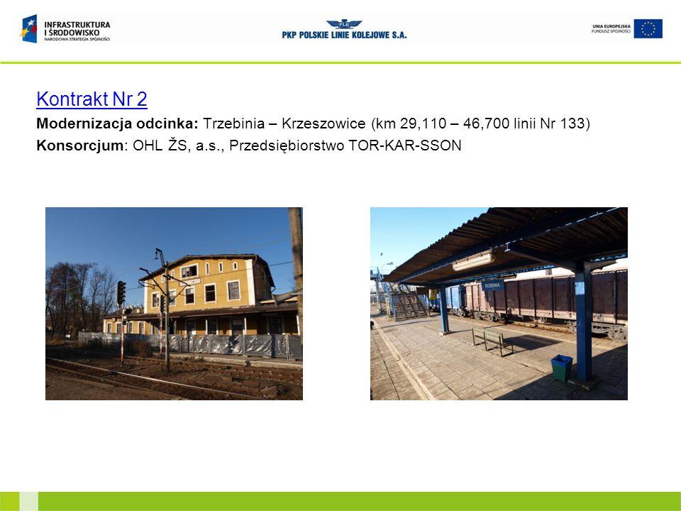 Kontrakt Nr 2 Modernizacja odcinka: Trzebinia – Krzeszowice (km 29,110 – 46,700 linii Nr 133) Konsorcjum: OHL ŽS, a.s., Przedsiębiorstwo TOR-KAR-SSON