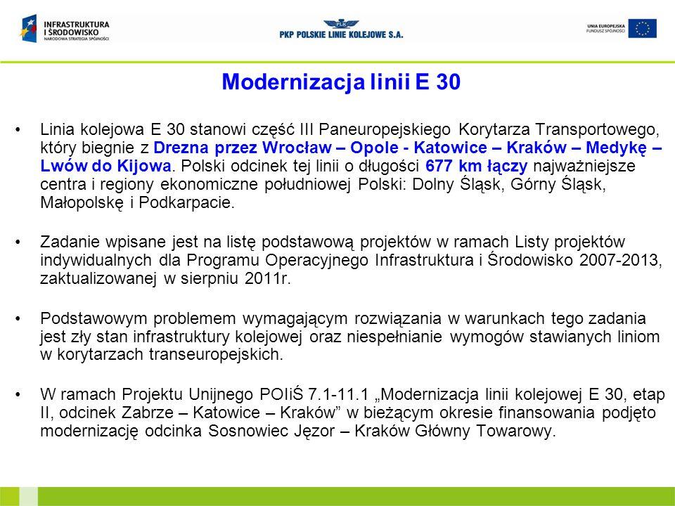 Cel modernizacji Celem modernizacji jest dostosowanie parametrów linii E30 do nowych standardów oraz wymogów umów międzynarodowych AGC (o głównych międzynarodowych liniach kolejowych) i AGTC (o głównych międzynarodowych liniach kolejowych transportu kombinowanego) dla korytarzy transportowych tj.