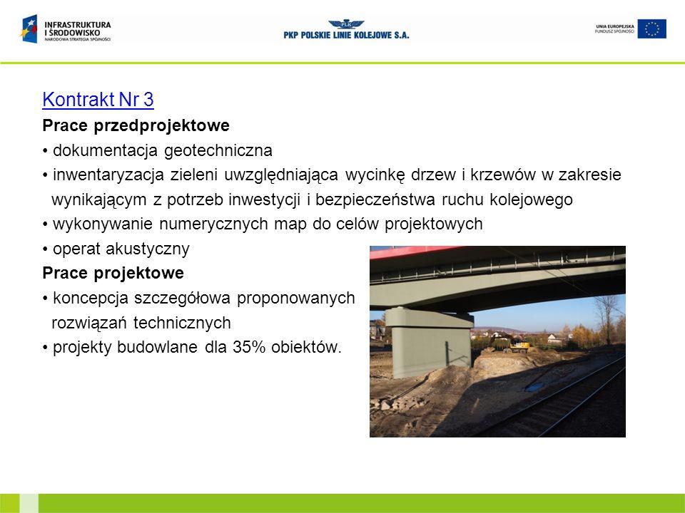 Kontrakt Nr 3 Prace przedprojektowe dokumentacja geotechniczna inwentaryzacja zieleni uwzględniająca wycinkę drzew i krzewów w zakresie wynikającym z