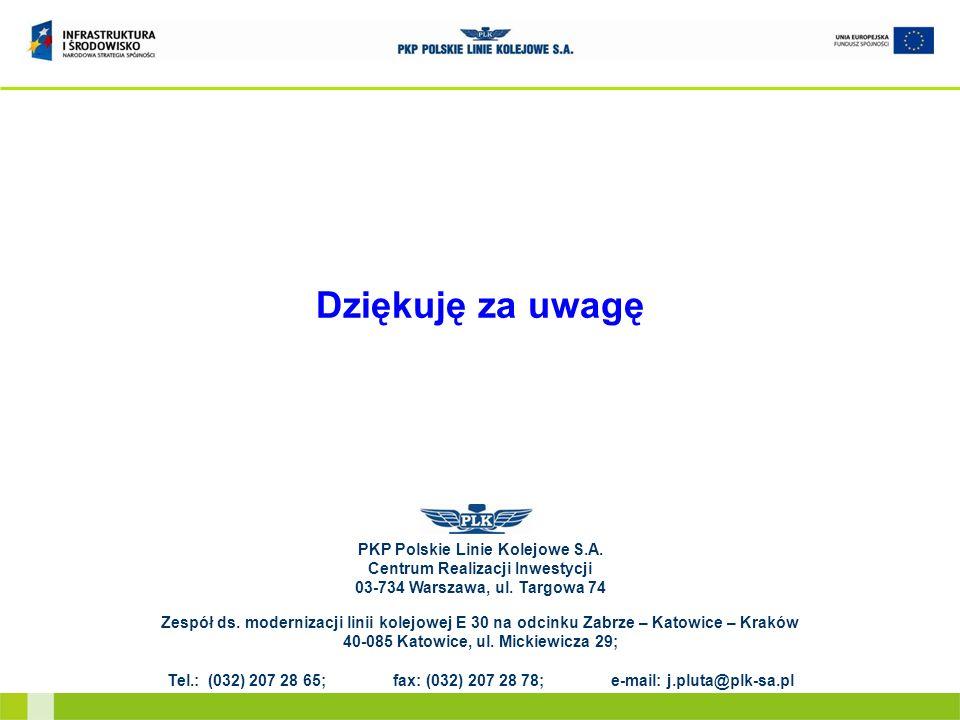 Dziękuję za uwagę PKP Polskie Linie Kolejowe S.A. Centrum Realizacji Inwestycji 03-734 Warszawa, ul. Targowa 74 Zespół ds. modernizacji linii kolejowe