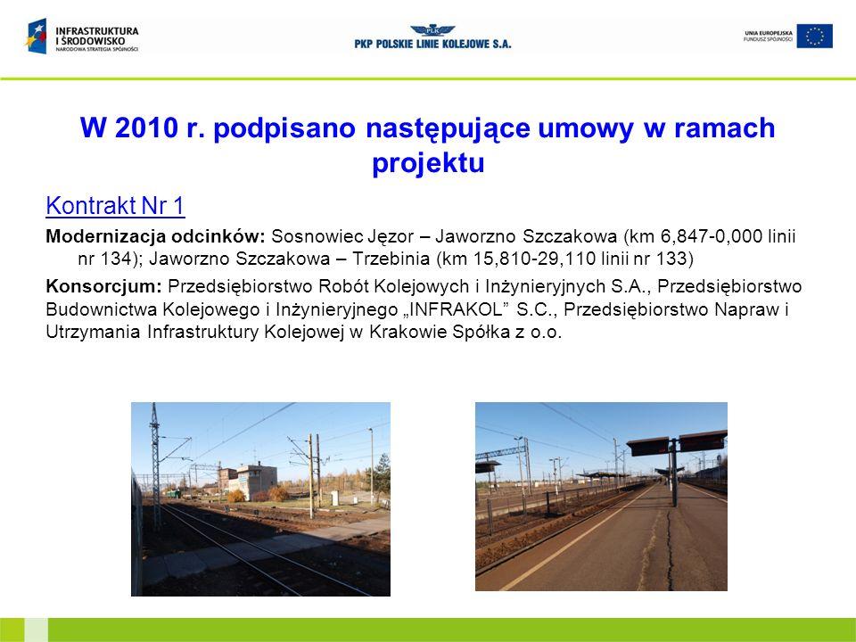 W 2010 r. podpisano następujące umowy w ramach projektu Kontrakt Nr 1 Modernizacja odcinków: Sosnowiec Jęzor – Jaworzno Szczakowa (km 6,847-0,000 lini