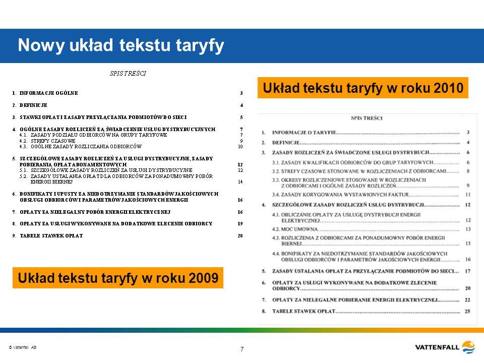 © Vattenfall AB 8 Zmiany tekstu taryfy w roku 2010 Usunięcie definicji pojęć określonych w aktach prawnych lub umowach np.