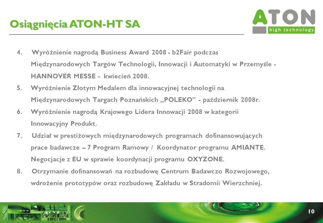 10 Osiągnięcia ATON-HT SA 4. Wyróżnienie nagrodą Business Award 2008 - b2Fair podczas Międzynarodowych Targów Technologii, Innowacji i Automatyki w Pr