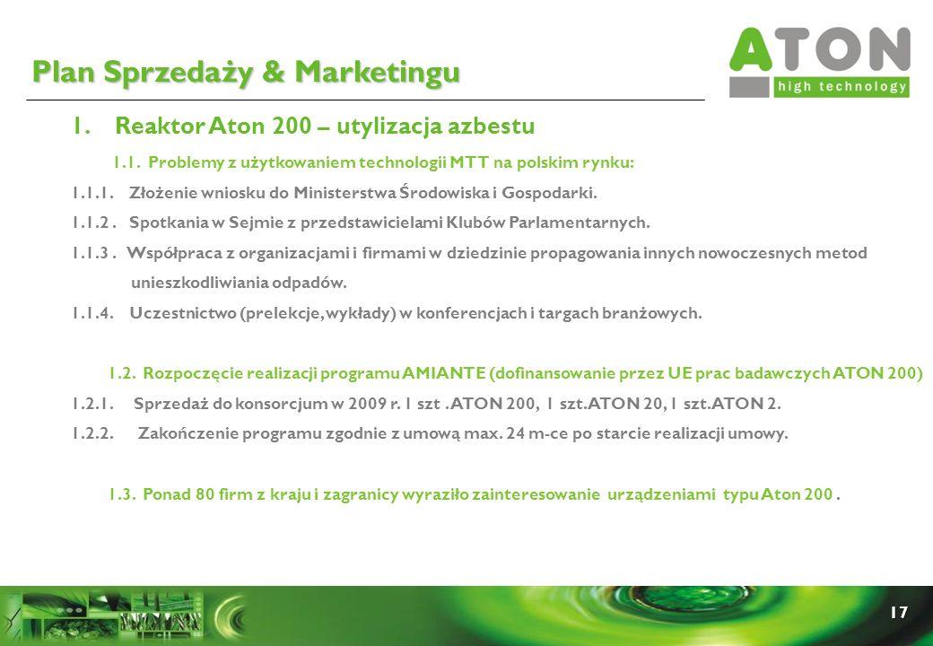 17 1. Reaktor Aton 200 – utylizacja azbestu 1.1. Problemy z użytkowaniem technologii MTT na polskim rynku: 1.1.1. Złożenie wniosku do Ministerstwa Śro