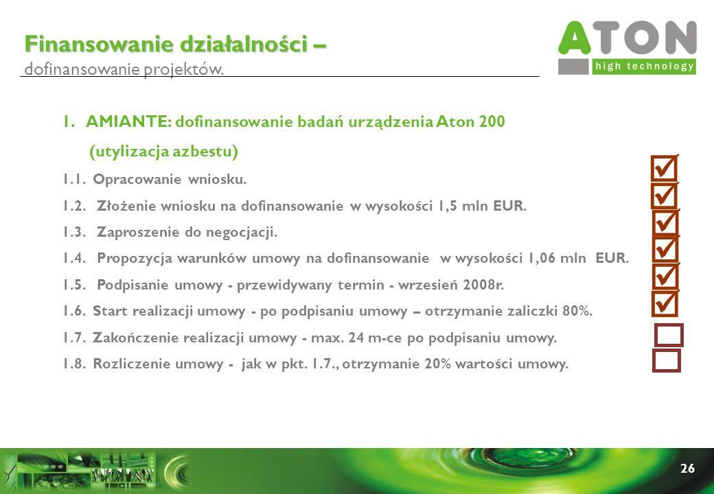 26 1. AMIANTE: dofinansowanie badań urządzenia Aton 200 (utylizacja azbestu) 1.1. Opracowanie wniosku. 1.2. Złożenie wniosku na dofinansowanie w wysok