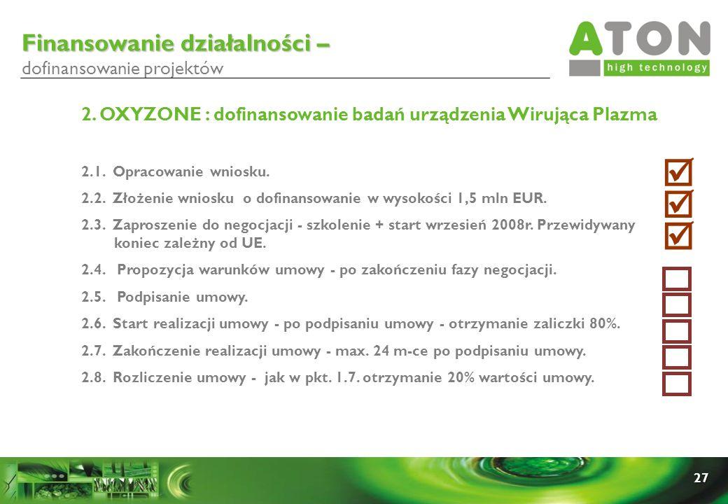 27 2. OXYZONE : dofinansowanie badań urządzenia Wirująca Plazma 2.1. Opracowanie wniosku. 2.2. Złożenie wniosku o dofinansowanie w wysokości 1,5 mln E