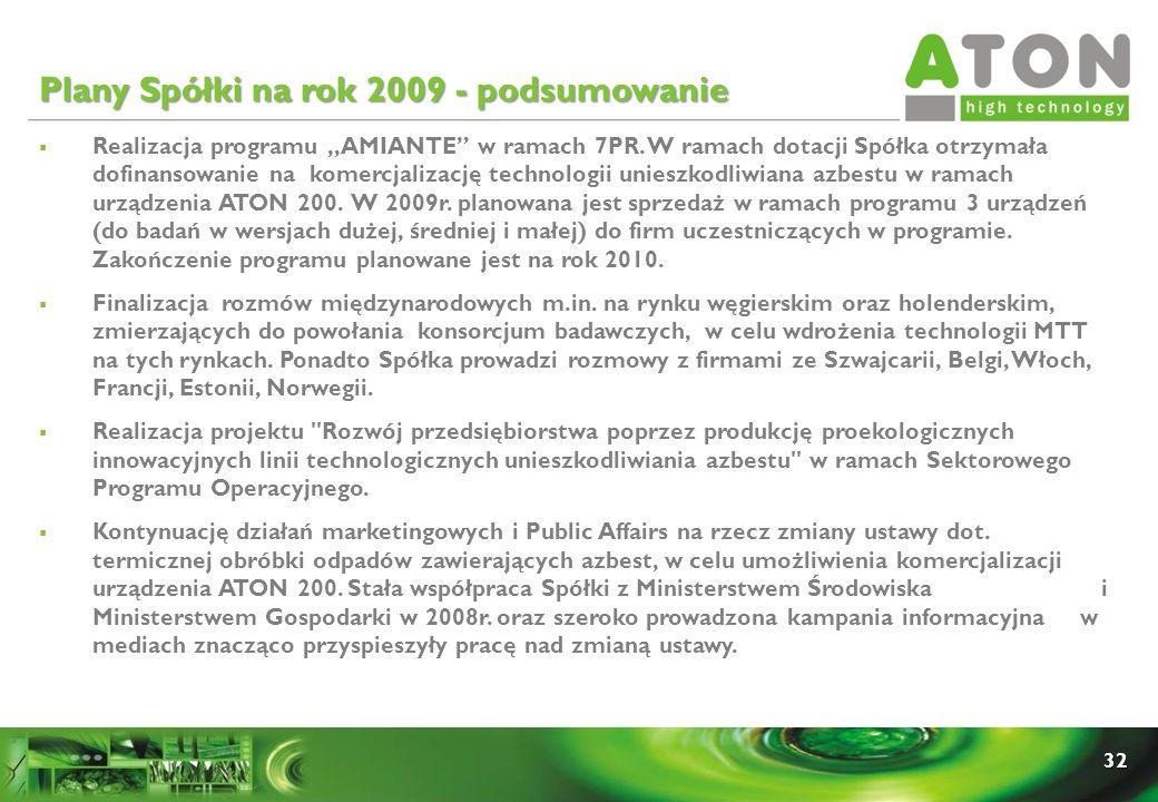 32 Plany Spółki na rok 2009 - podsumowanie Realizacja programu,,AMIANTE w ramach 7PR. W ramach dotacji Spółka otrzymała dofinansowanie na komercjaliza