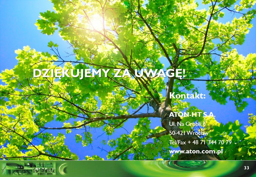 33 Kontakt: ATON-HT S.A. Ul. Na Grobli 6 50-421 Wrocław Tel/Fax + 48 71 344 70 79 www.aton.com.pl DZIĘKUJEMY ZA UWAGĘ!