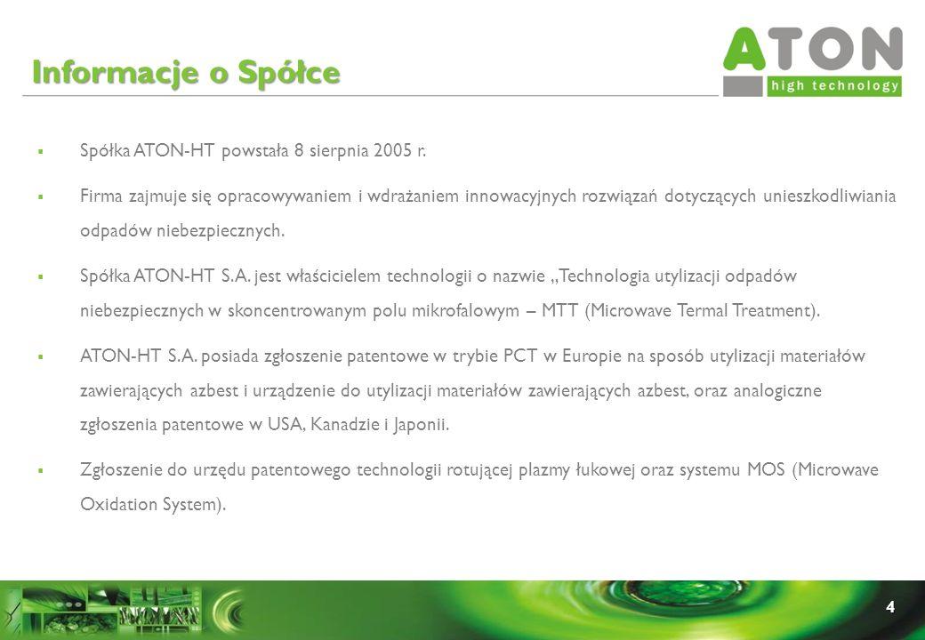 4 Spółka ATON-HT powstała 8 sierpnia 2005 r. Firma zajmuje się opracowywaniem i wdrażaniem innowacyjnych rozwiązań dotyczących unieszkodliwiania odpad