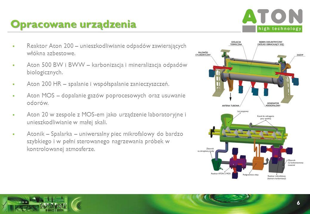 6 Reaktor Aton 200 – unieszkodliwianie odpadów zawierających włókna azbestowe. Aton 500 BW i BWW – karbonizacja i mineralizacja odpadów biologicznych.