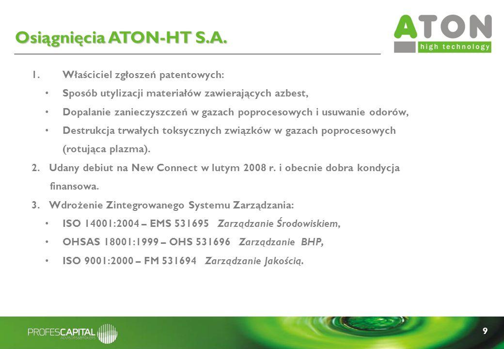 9 1.Właściciel zgłoszeń patentowych: Sposób utylizacji materiałów zawierających azbest, Dopalanie zanieczyszczeń w gazach poprocesowych i usuwanie odo