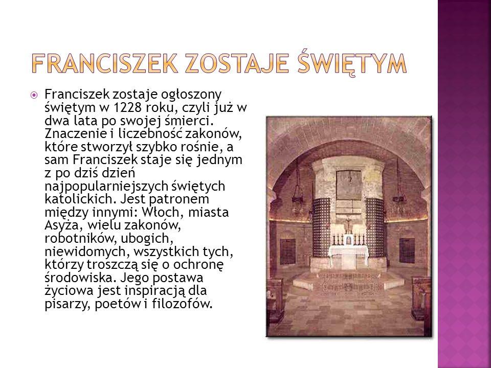 Franciszek zostaje ogłoszony świętym w 1228 roku, czyli już w dwa lata po swojej śmierci.