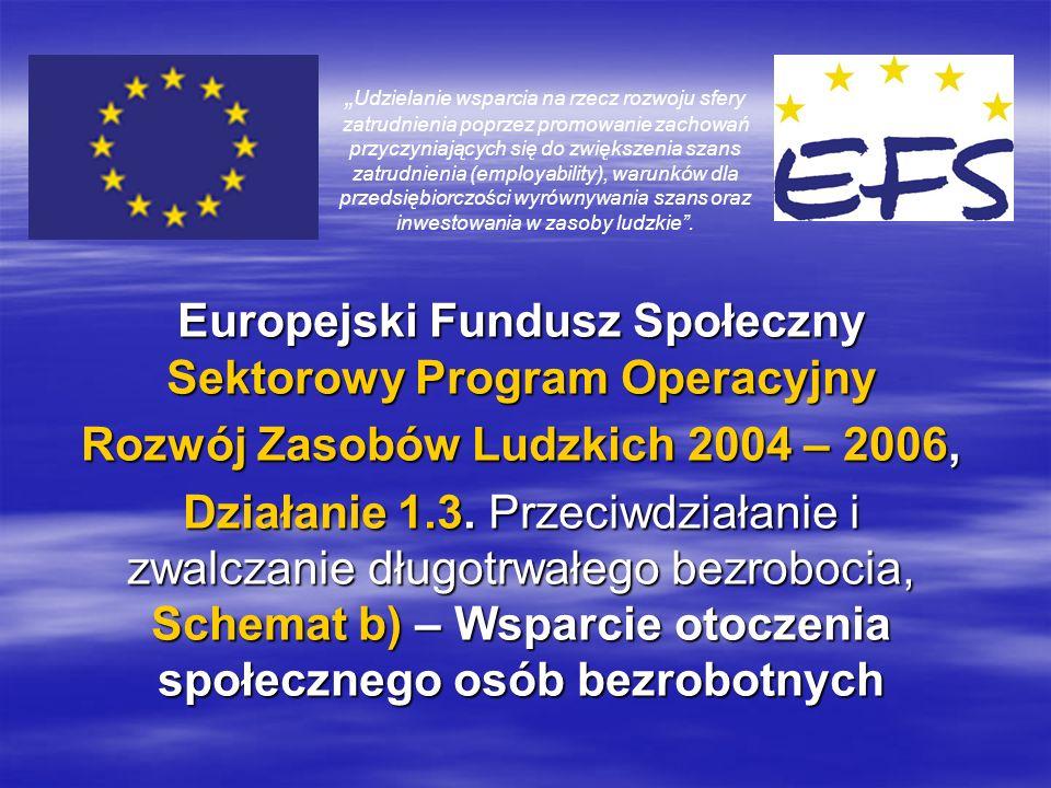 Europejski Fundusz Społeczny Sektorowy Program Operacyjny Rozwój Zasobów Ludzkich 2004 – 2006, Działanie 1.3.