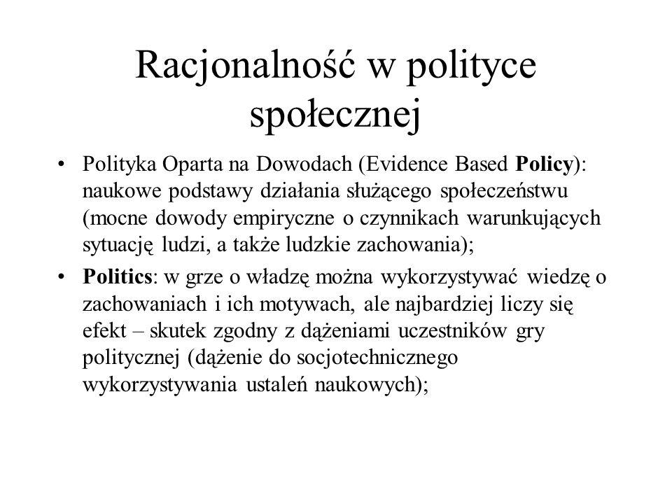 Racjonalność w polityce społecznej Polityka Oparta na Dowodach (Evidence Based Policy): naukowe podstawy działania służącego społeczeństwu (mocne dowo