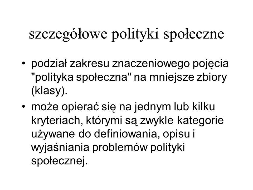 szczegółowe polityki społeczne podział zakresu znaczeniowego pojęcia