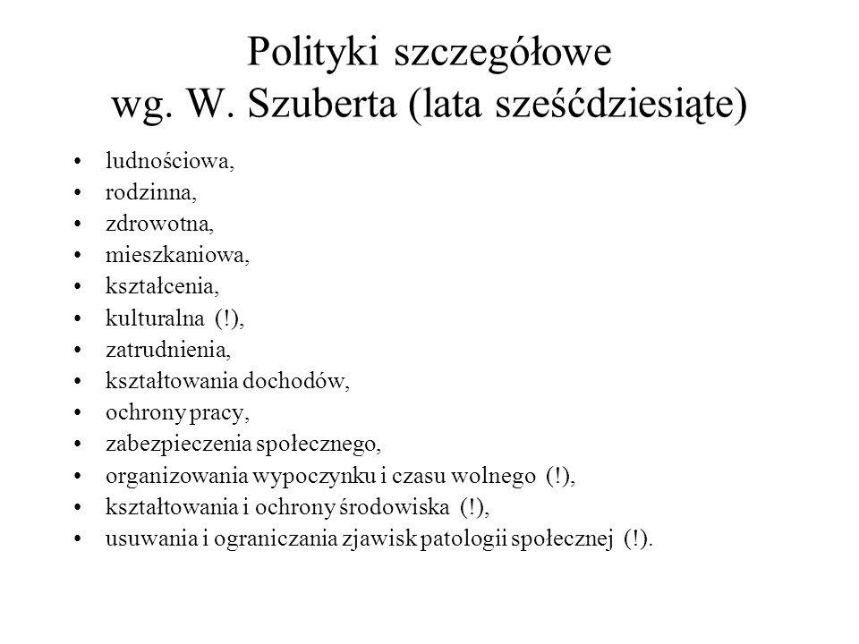 Polityki szczegółowe wg. W. Szuberta (lata sześćdziesiąte) ludnościowa, rodzinna, zdrowotna, mieszkaniowa, kształcenia, kulturalna (!), zatrudnienia,