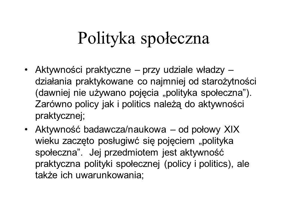 Polityka społeczna Aktywności praktyczne – przy udziale władzy – działania praktykowane co najmniej od starożytności (dawniej nie używano pojęcia poli