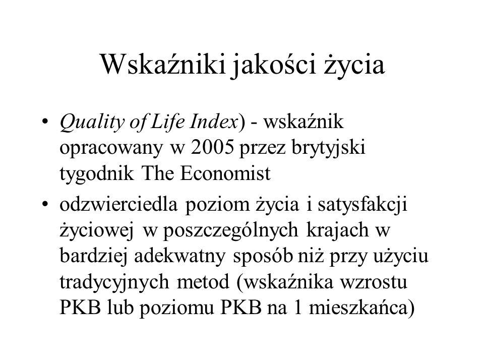 Wskaźniki jakości życia Quality of Life Index) - wskaźnik opracowany w 2005 przez brytyjski tygodnik The Economist odzwierciedla poziom życia i satysf