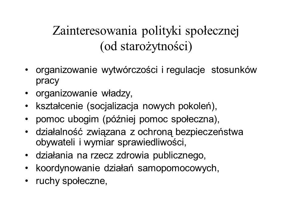 Zainteresowania polityki społecznej (od starożytności) organizowanie wytwórczości i regulacje stosunków pracy organizowanie władzy, kształcenie (socja