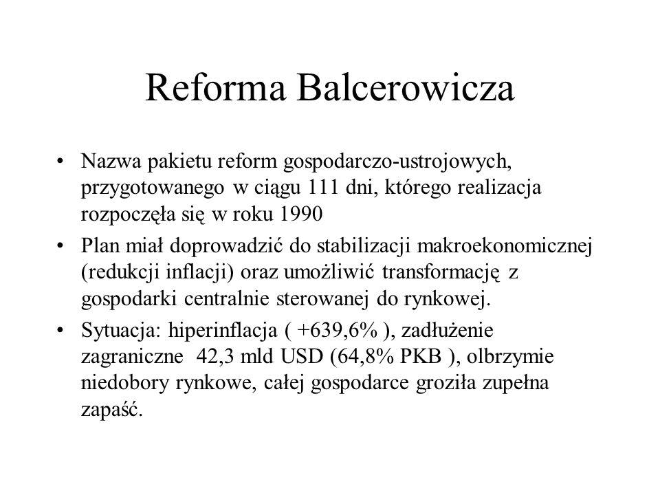 Reforma Balcerowicza Nazwa pakietu reform gospodarczo-ustrojowych, przygotowanego w ciągu 111 dni, którego realizacja rozpoczęła się w roku 1990 Plan