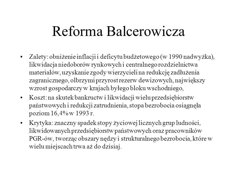 Reforma Balcerowicza Zalety: obniżenie inflacji i deficytu budżetowego (w 1990 nadwyżka), likwidacja niedoborów rynkowych i centralnego rozdzielnictwa