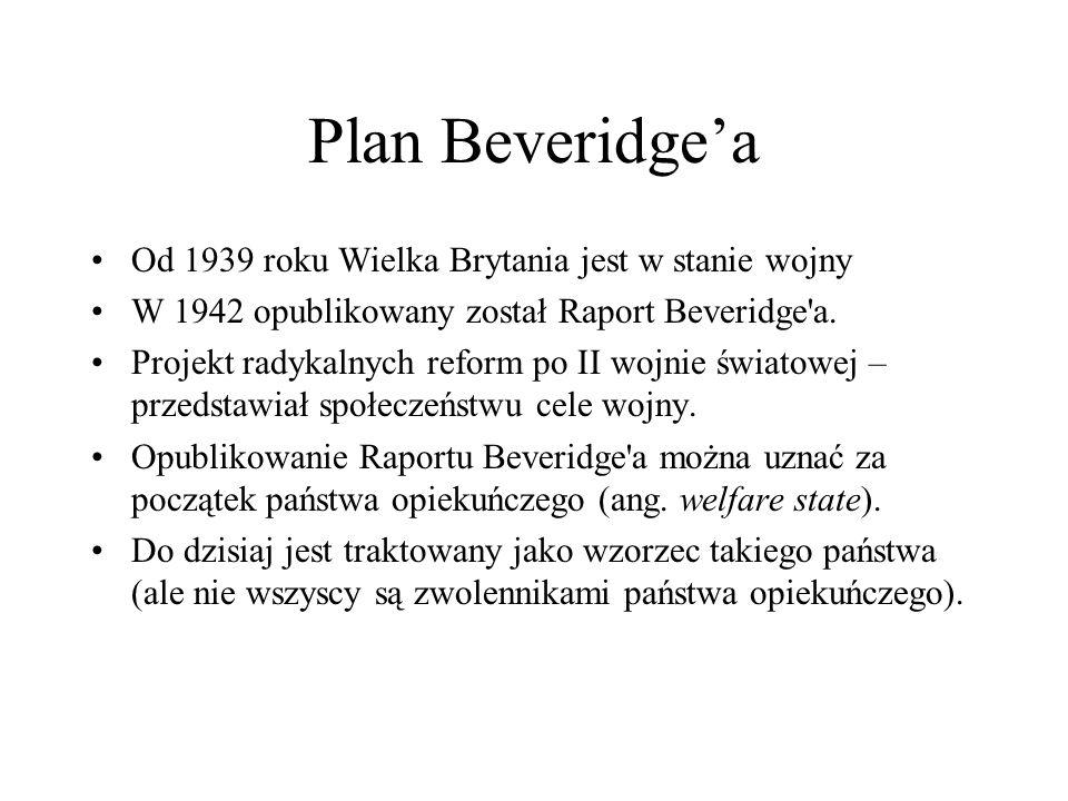 Plan Beveridgea Od 1939 roku Wielka Brytania jest w stanie wojny W 1942 opublikowany został Raport Beveridge'a. Projekt radykalnych reform po II wojni