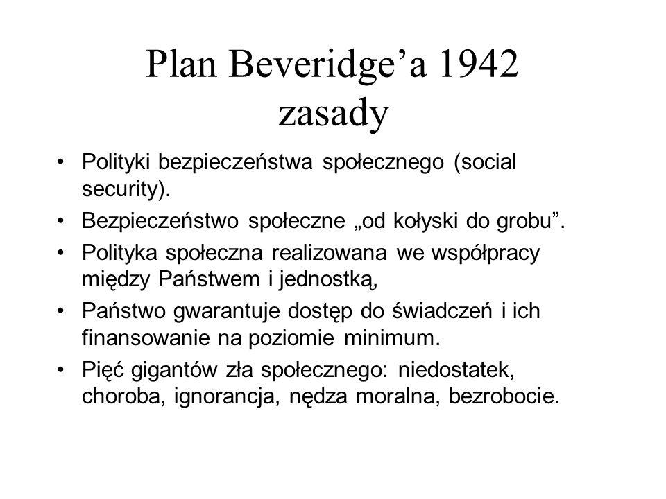 Plan Beveridgea 1942 zasady Polityki bezpieczeństwa społecznego (social security). Bezpieczeństwo społeczne od kołyski do grobu. Polityka społeczna re