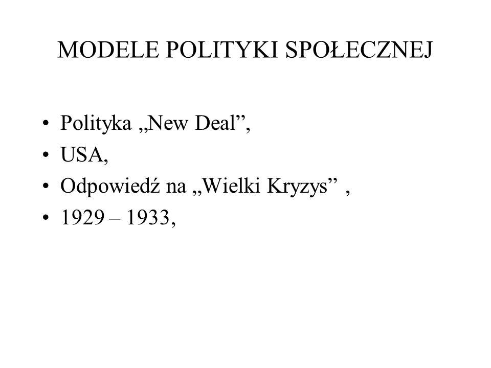 MODELE POLITYKI SPOŁECZNEJ Polityka New Deal, USA, Odpowiedź na Wielki Kryzys, 1929 – 1933,