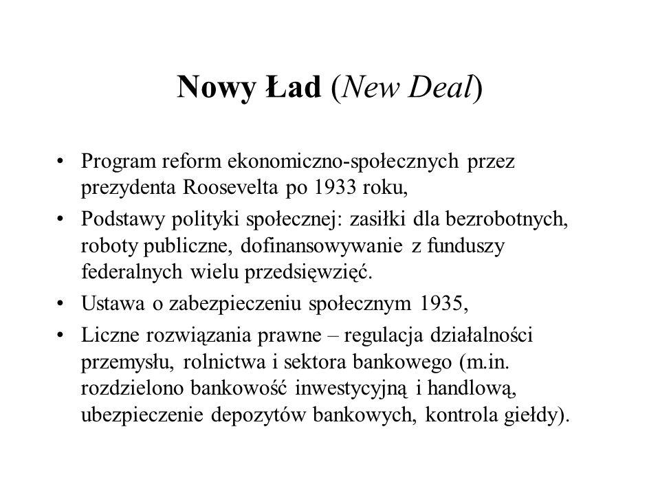 Nowy Ład (New Deal) Program reform ekonomiczno-społecznych przez prezydenta Roosevelta po 1933 roku, Podstawy polityki społecznej: zasiłki dla bezrobo