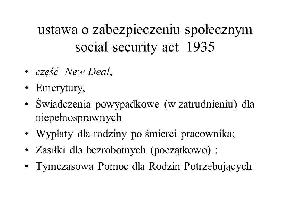 ustawa o zabezpieczeniu społecznym social security act 1935 część New Deal, Emerytury, Świadczenia powypadkowe (w zatrudnieniu) dla niepełnosprawnych