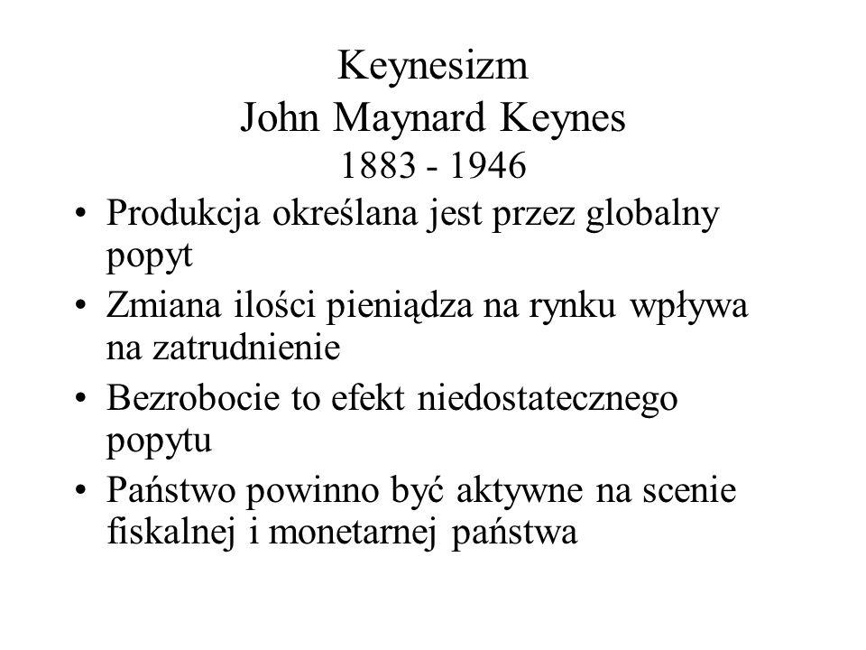 Keynesizm John Maynard Keynes 1883 - 1946 Produkcja określana jest przez globalny popyt Zmiana ilości pieniądza na rynku wpływa na zatrudnienie Bezrob
