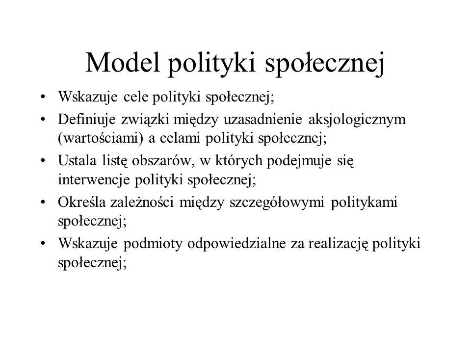 Model polityki społecznej Wskazuje cele polityki społecznej; Definiuje związki między uzasadnienie aksjologicznym (wartościami) a celami polityki społ