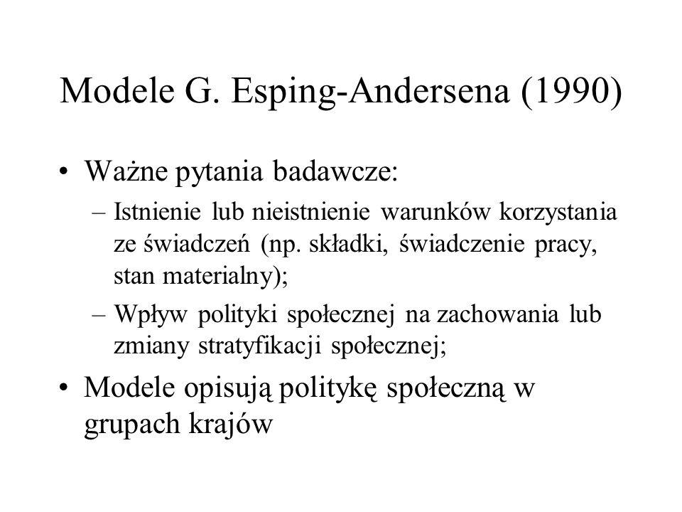 Modele G. Esping-Andersena (1990) Ważne pytania badawcze: –Istnienie lub nieistnienie warunków korzystania ze świadczeń (np. składki, świadczenie prac