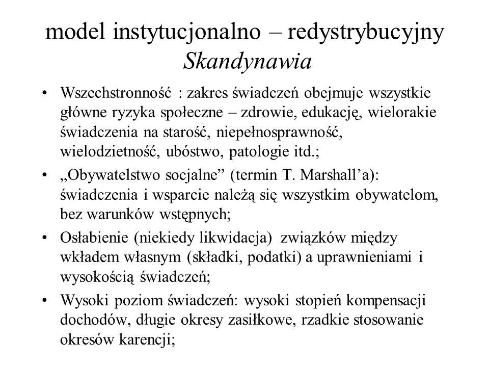 model instytucjonalno – redystrybucyjny Skandynawia Wszechstronność : zakres świadczeń obejmuje wszystkie główne ryzyka społeczne – zdrowie, edukację,