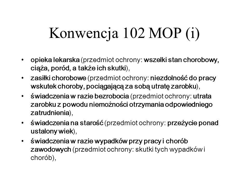 Konwencja 102 MOP (i) opieka lekarska (przedmiot ochrony: wszelki stan chorobowy, ciąża, poród, a także ich skutki), zasiłki chorobowe (przedmiot ochr