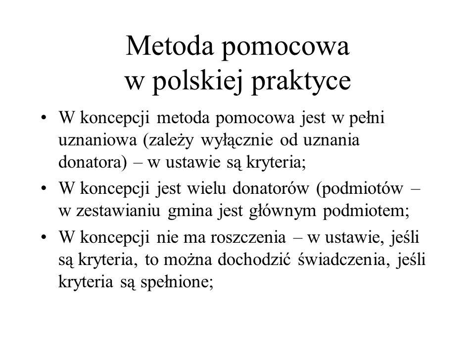 Metoda pomocowa w polskiej praktyce W koncepcji metoda pomocowa jest w pełni uznaniowa (zależy wyłącznie od uznania donatora) – w ustawie są kryteria;