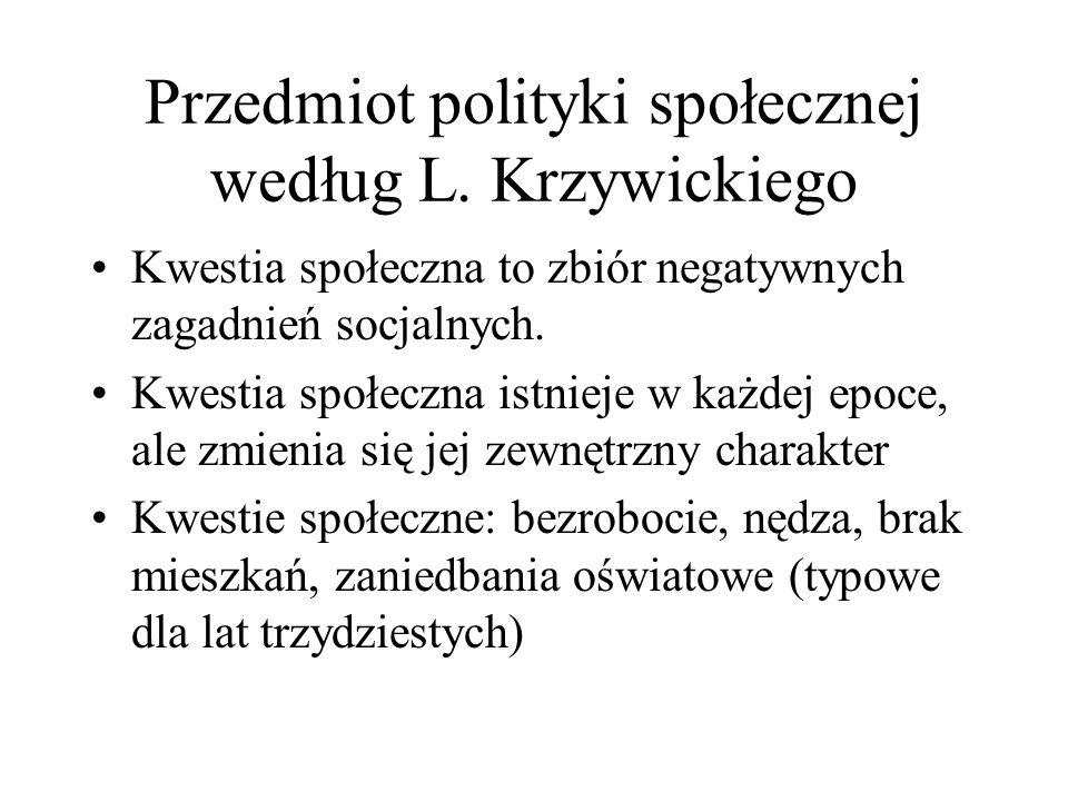 Przedmiot polityki społecznej według L. Krzywickiego Kwestia społeczna to zbiór negatywnych zagadnień socjalnych. Kwestia społeczna istnieje w każdej
