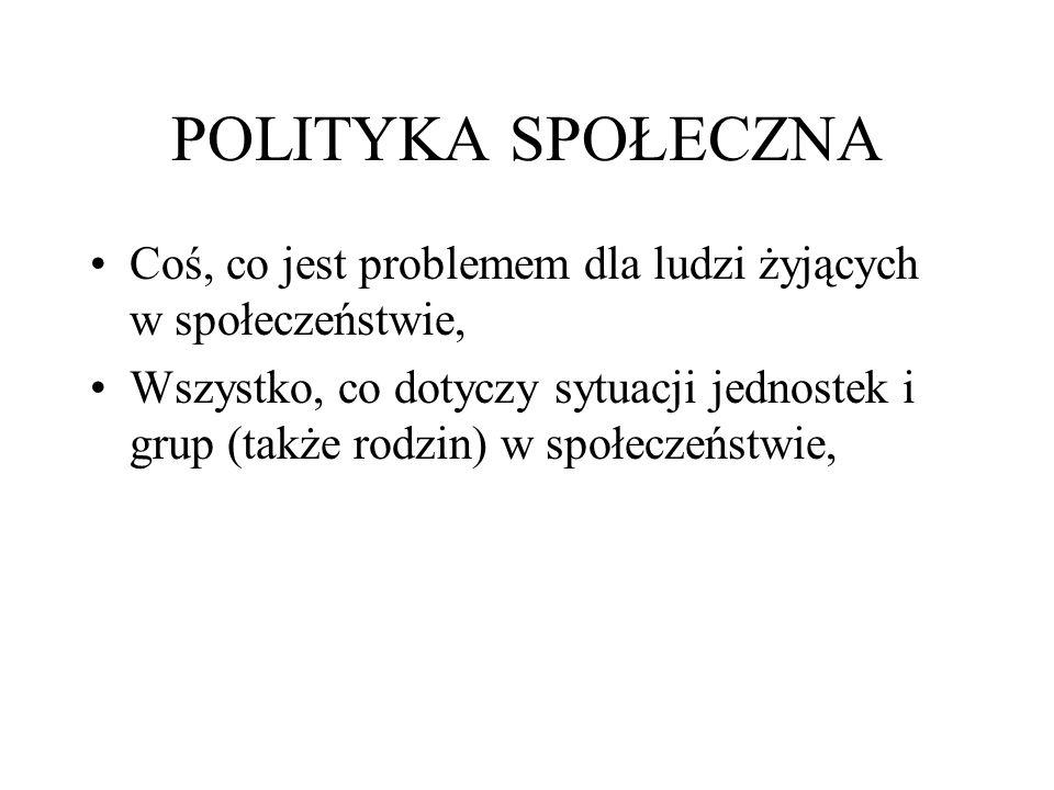 szczegółowe polityki społeczne podział zakresu znaczeniowego pojęcia polityka społeczna na mniejsze zbiory (klasy).