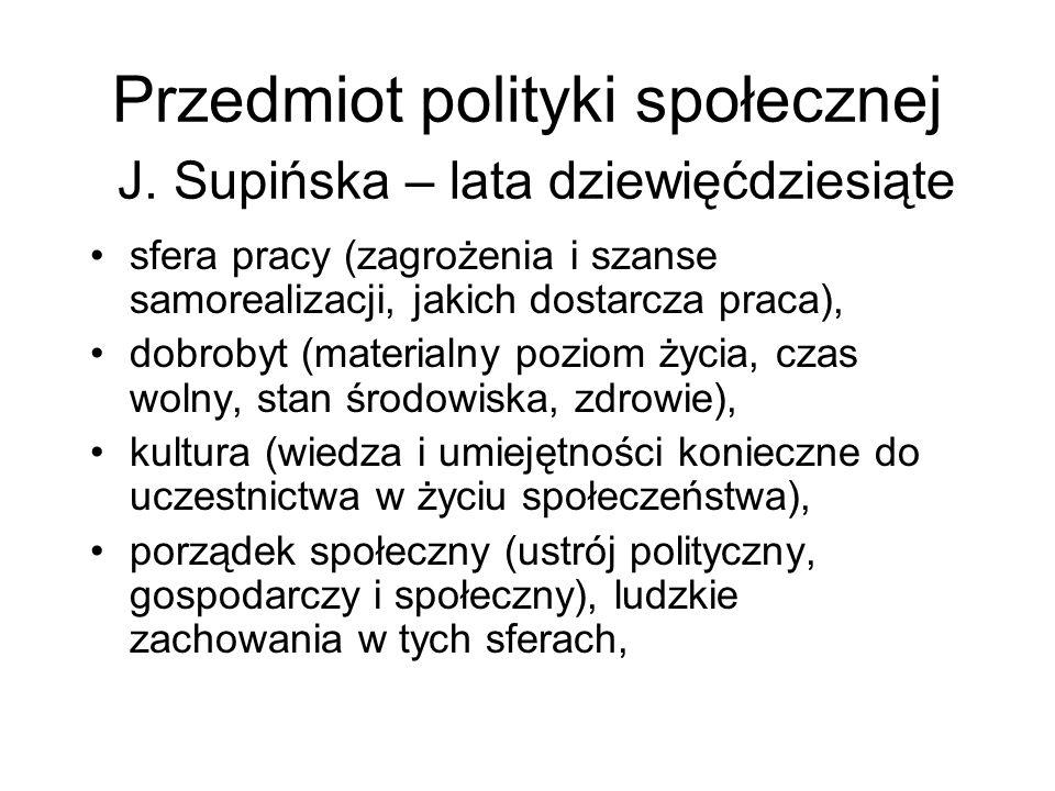 Przedmiot polityki społecznej J. Supińska – lata dziewięćdziesiąte sfera pracy (zagrożenia i szanse samorealizacji, jakich dostarcza praca), dobrobyt