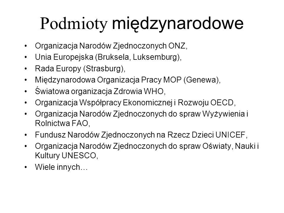 Podmioty międzynarodowe Organizacja Narodów Zjednoczonych ONZ, Unia Europejska (Bruksela, Luksemburg), Rada Europy (Strasburg), Międzynarodowa Organiz