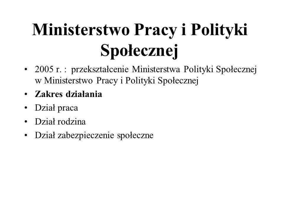 Ministerstwo Pracy i Polityki Społecznej 2005 r. : przekształcenie Ministerstwa Polityki Społecznej w Ministerstwo Pracy i Polityki Społecznej Zakres