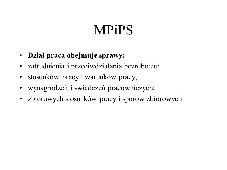 MPiPS Dział praca obejmuje sprawy: zatrudnienia i przeciwdziałania bezrobociu; stosunków pracy i warunków pracy; wynagrodzeń i świadczeń pracowniczych