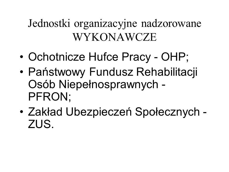 Jednostki organizacyjne nadzorowane WYKONAWCZE Ochotnicze Hufce Pracy - OHP; Państwowy Fundusz Rehabilitacji Osób Niepełnosprawnych - PFRON; Zakład Ub