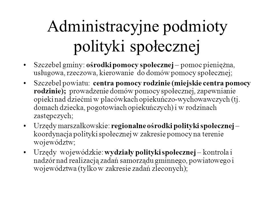 Administracyjne podmioty polityki społecznej Szczebel gminy: ośrodki pomocy społecznej – pomoc pieniężna, usługowa, rzeczowa, kierowanie do domów pomo