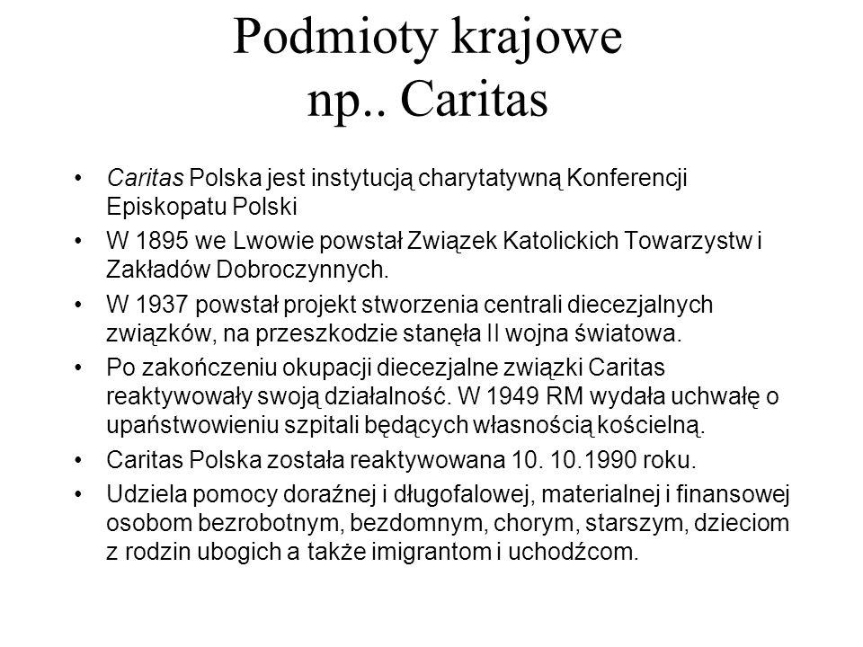 Podmioty krajowe np.. Caritas Caritas Polska jest instytucją charytatywną Konferencji Episkopatu Polski W 1895 we Lwowie powstał Związek Katolickich T